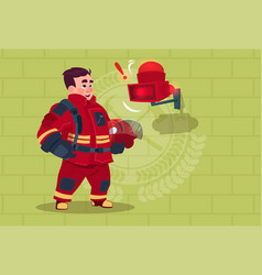 fireman hear alarm wearing uniform hold helmet vector image vector image