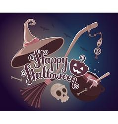 halloween with text happy halloween pumpkin vector image