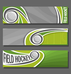 horizontal banners for field hockey vector image vector image