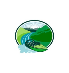 Jetboat River Canyon Mountain Oval Retro vector image vector image