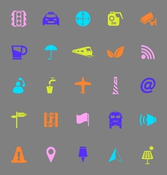 Map sign color icons on gray background vector