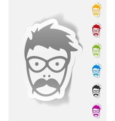 realistic design element face male vector image vector image