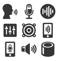 voice smart devices with sound wave icons set vector image vector image