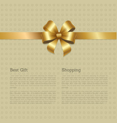 best gift shopping certificate decorated gold bow vector image vector image
