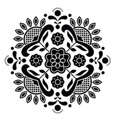 Norwegian black folk art Bunad pattern - Rosemalin vector image