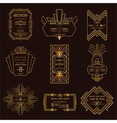 Wedding invitation cards - art deco vintage style vector
