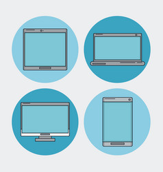 white background with tech device as laptop and vector image vector image