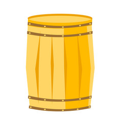 wooden barrel with iron rings cartoon vector image vector image