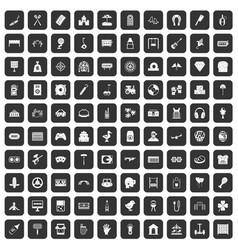 100 entertainment icons set black vector