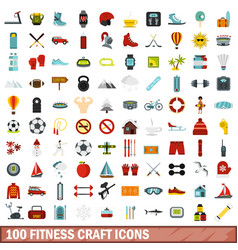 100 fitness craft icons set flat style vector