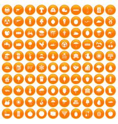 100 fruit icons set orange vector