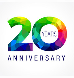 20 anniversary color facet logo vector