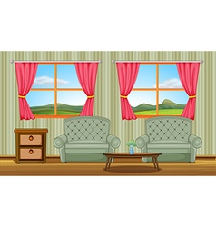 A cushion chairs and side table vector image
