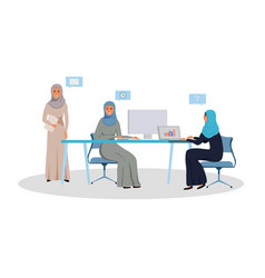 Arab women team working on a project vector
