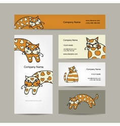 Art cats business cards design vector