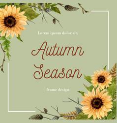 Autumn-themed border frame sunflower surrounding vector
