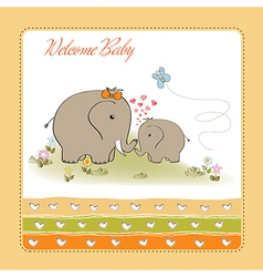 baby shower card with baby elephant and his mother vector image