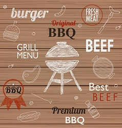 Barbecue grill icons and labels for any use vector