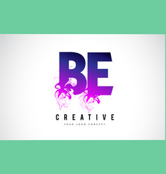 Be b e purple letter logo design with liquid vector