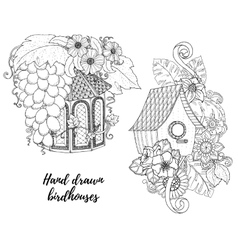 Black and white wood nesting box Hand drawn vector image
