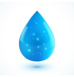 Blue realistic ion water drop isolated on vector