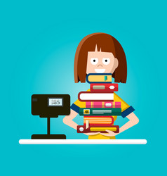 bookstore or library flat design with woman vector image
