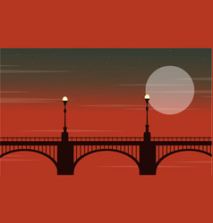 Bridge with lamp landscape at night vector