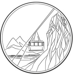 cablecar lineart vector image