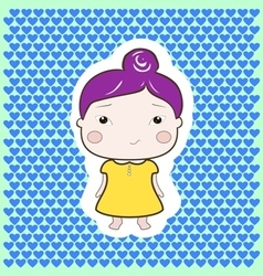 Cartoon baby girl violet hair yellow dress vector