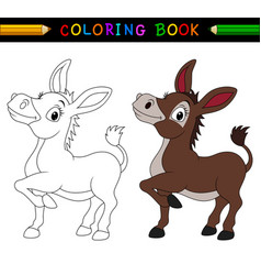 Cartoon donkey coloring book vector