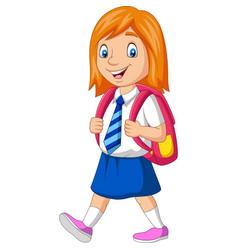 cartoon happy school girl in uniform vector image