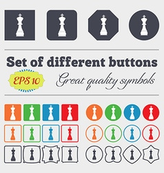 Chess king icon sign Big set of colorful diverse vector