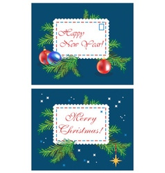 Christmas tree and a letter vector image
