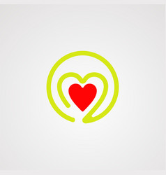 circle love logo icon element and template for vector image