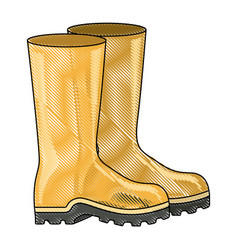 Colored pencil silhouette of fishing plastic boots vector