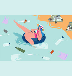 Colorful of plastic pollution vector