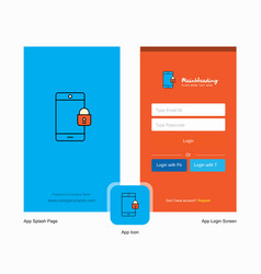 company phone locked splash screen and login page vector image