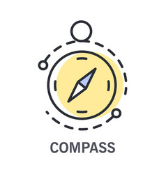 Compass and round navigational instrument icon vector