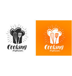 cooking logo or label cuisine kitchen icon vector image