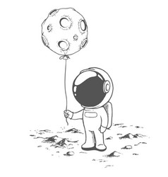 Cute astronaut keeps a balloon like moon vector