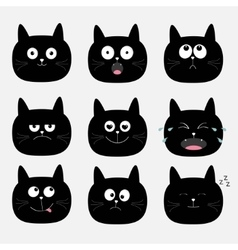 Cute black cat head set Funny cartoon characters vector