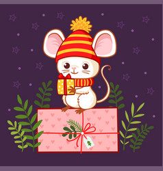 cute mouse stands with a gift in his hand on a vector image