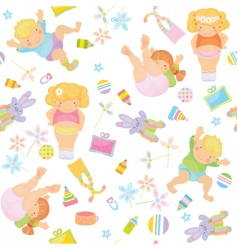 cute pattern of funny kids vector image vector image