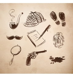 Detective sketch icons set vector