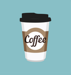 Disposable coffee cup icon on blue background vector