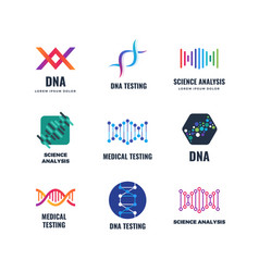 Dna code biotech science genetics logo vector