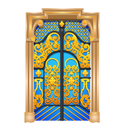 Double door in the oriental style isolated vector