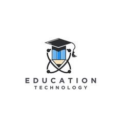 Education logo - toga hat school book pen teacher vector