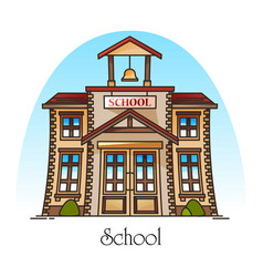Facade school building with bell or college vector