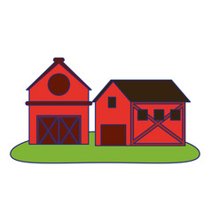 farm house and barn in nature vector image